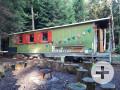 Grüner Bauwagen aus Holz mit roten Fenstern steht im Wald, davor ein Feuerkorb mit Holzsitzen