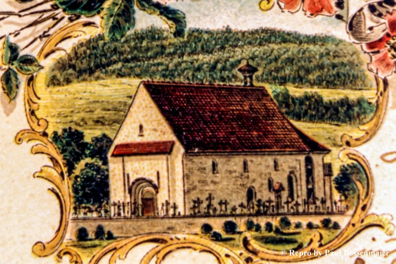 Postkarte, nach Einsturz des Turmes im August 1830 mit Dachreiter versehen