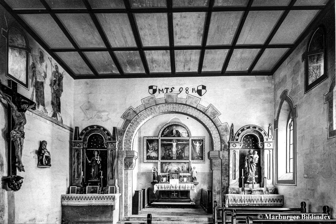 Chor um 1927, 1793 Übertünchung der Fresken und Decke. 1913 Freilegung der Fresken