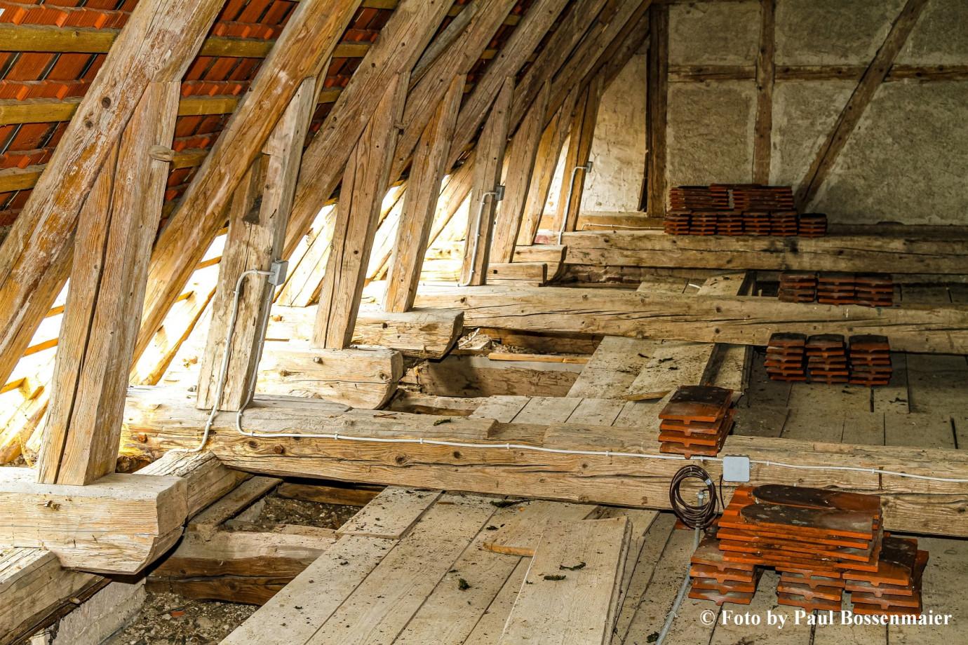 Der Dachstuhl bei den Renovierungarbeiten 2008 bis 2010