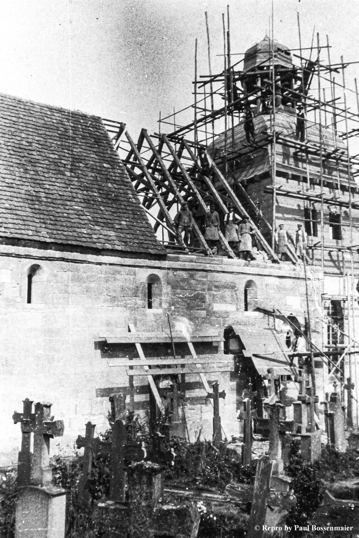 Aufbau des Turmhelms um 1913
